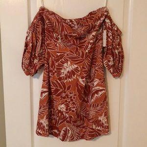 Tropical Print Off the Shoulder Mini Dress